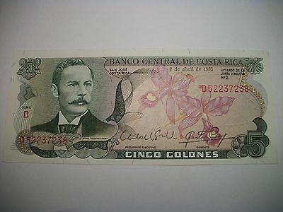 Bank of Costa Rica 5 Colones paper money/note/bill