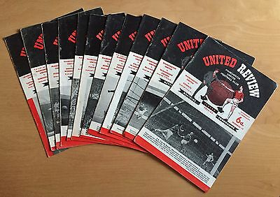 MANCHESTER UNITED - 1963/1964 Job Lot 12 home programmes : listed, no duplicates