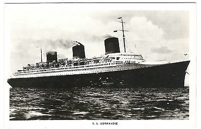 French Line Cgt Ss Normandie Postcard