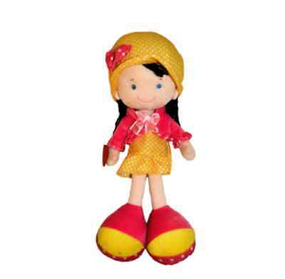yellow, pink Stuffed Doll Emily Girl 18 inch high, CE certified, velvet texture