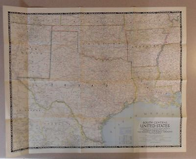 """1947 National Geographic Map SOUTH CENTRAL United States, 29-1/2"""" X 24"""""""