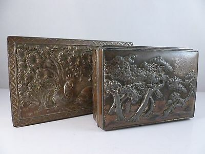 A FINE PAIR of old Japanese Cigarette/Trinket boxes -  lovely detailing signed