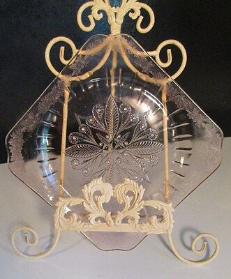 Adam by Jeannette glass. Pink Glass Elegant Square 10'' Cake plate