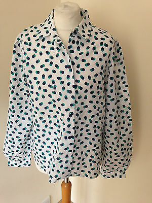 Vintage 70s spot shirt office chic size 16