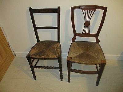 2 Different Vintage ? Antique ? Oak ? Wood And Wicker Chairs  / Collection Only