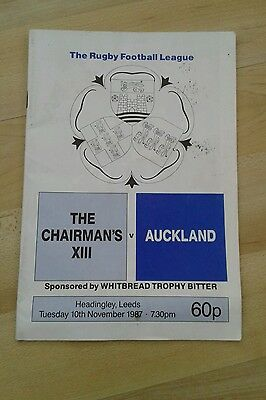 Vintage Rugby Programme. The Chairmans Xiii V Auckland. 10 Nov 1987