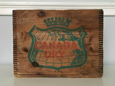 Vintage Canada Dry Ginger Ale Soda Wood Crate ~ Dovetailed Corners