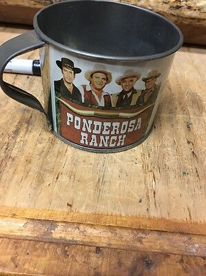 Vtg The Ponderosa Ranch Metal Cup Tin Mug TV Show Bonanza Nevada