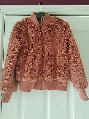 girls pink fur fluffy bomber jacket age 7-8