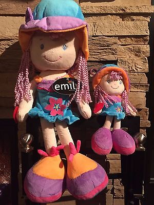 Blue and purple Stuffed Doll Emily for girl 18 inch,CE certified, velvet texture