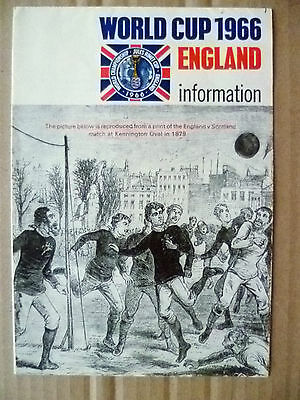 World Cup 1966 England Ephemera Information Booklet Football Fixtures(Org & Exc)