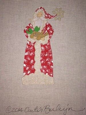 Curtis Boehringer Santa's Puppy Present Hand Painted Needlepoint Canvas