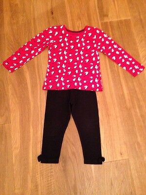 Black Leggings And Long Sleeve Red Top Age 3-4 Years