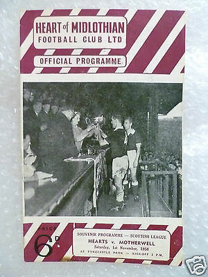 1958 HEART OF MIDLOTHIAN v MOTHERWELL, 1st Nov (Scottish League)