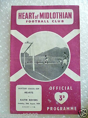 1958 HEART OF MIDLOTHIAN v RAITH ROVERS, 30th Aug (Scottish League Cup)