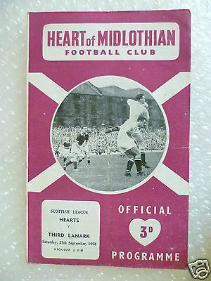 1958 HEART OF MIDLOTHIAN v THIRD LANARK, 27th Sept (Scottish League)