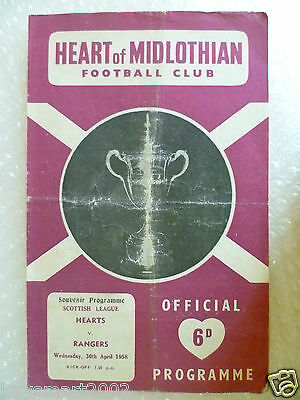 1958 HEART OF MIDLOTHIAN v RANGERS, 30th April (Scottish League)
