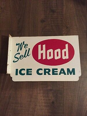 Vintage Hood  Ice Cream 2 Sided Flange Advertising Sign