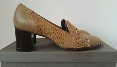 BNIB Vtg 60s 70s K Shoes Shophound heeled loafers gold chain punched western 5.5