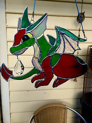 Suncatcher - Stained Glass - Little Dragons - 200mm by 180mm ( Medium Size)