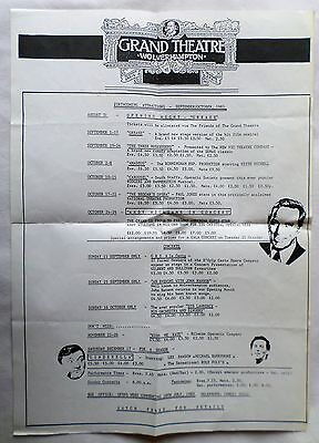 Grand Theatre Wolverhampton. Sept/oct 1983 Forthcoming Attractions.  Flyer