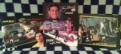 Tony Schumacher Three Signed Handouts 1996, 1999, 2001 Peek Bros., Exide, Army