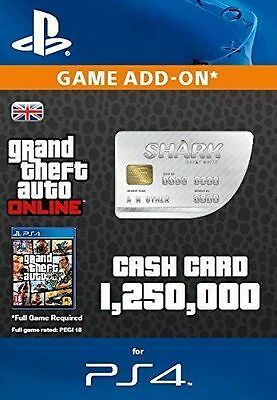 Grand Theft Auto (GTA V 5) Online Great White Shark $1,250,000 Cash Card PS4