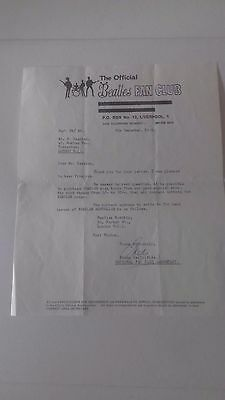 Beatles fanclub Original signed Personal letter from Freda Kelly