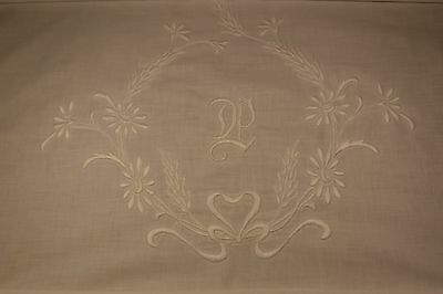 Vintage Cotton monogrammed P padded embroidery crib sheet or layover sham