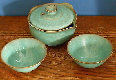 A Japanese studio pottery set lidded pot with two bowls