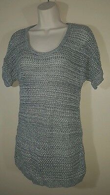 NEW BRITTANY BLACK MATERNITY CROCHET See-Thru Woman's Small Sweater Blouse GRAY