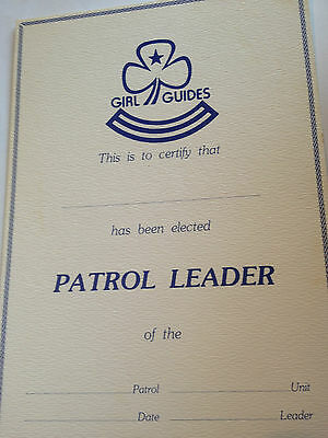 Girl Guides / Scouts Patrol Leader Certificate