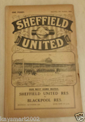 1930/31 Central League: SHEFFIELD UNITED RES. v BLACKBURN ROVERS RES - 4tht Oct.