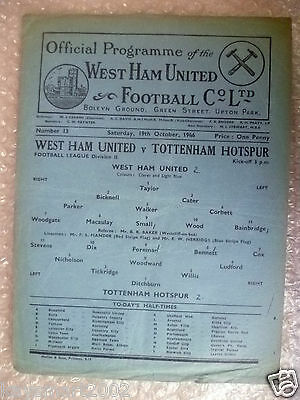 1946 League Division II WEST HAM UNITED v TOTTENHAM HOTSPUR, 19th October, Rare