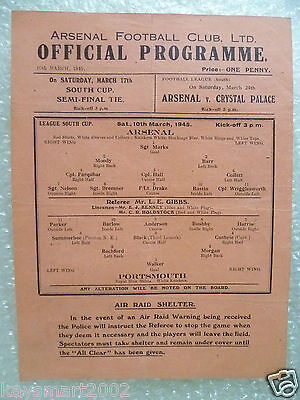 1945 League South Cup ARSENAL v. PORTSMOUTH, 10 March (single sheet programmes)