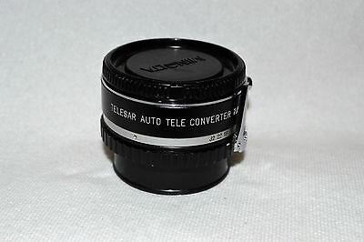 Telesar Auto 2X Tele Converter Lens for Minolta M/MD with Caps Japan (LN-27)