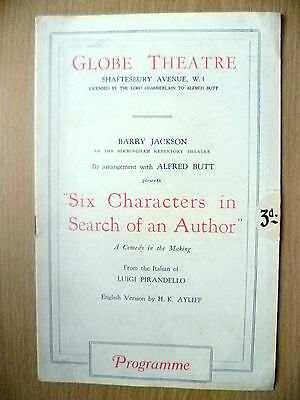 Globe Theatre Programme- SIX CHARACTERS IN SEARCH OF AN AUTHOR by L Pirandello