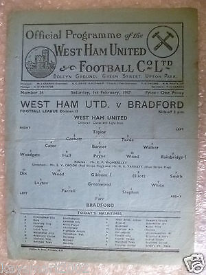 1947 League Programme  WEST HAM UNITED v BRADFORD PARK AVENUE 1st February, Rare