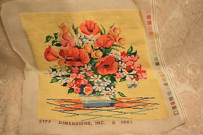 """""""completed"""" 1981 Dimensions Floral Poppies Still Life Tapestry Needlepoint #2177"""