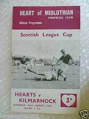 1959 HEART OF MIDLOTHIAN v KILMARNOCK, 22nd Aug (Scottish League Cup)