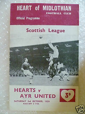 1959 HEART OF MIDLOTHIAN v AYR UNITED, 3rd Oct (Scottish League)