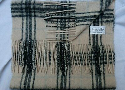 """Isabelle 100% Cashmere ecru checked scarf 52""""L"""