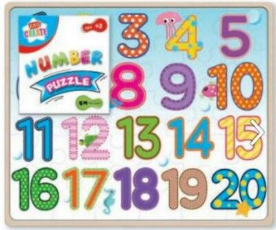NUMBERS PUZZLE jigsaw 20 PIECES Learn & Play toy NURSERY kids children A