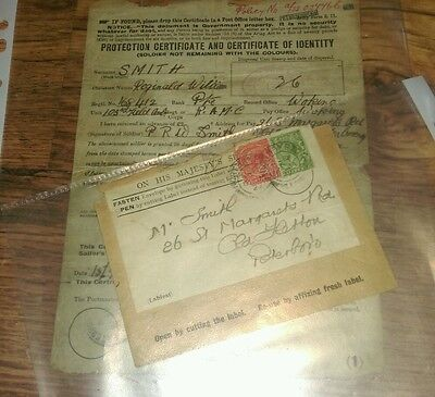 WW1 RAMC protection certificate and certificate of identity