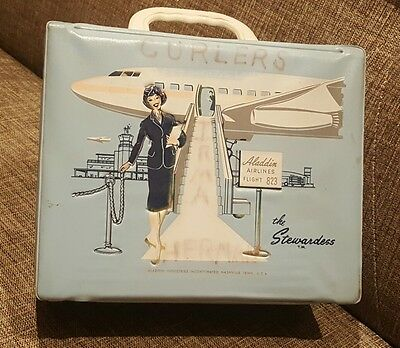 "VINTAGE ANTIQUE ALADDIN LUNCHBOX ""THE STEWARDESS"" 1950s OLD AIRPLANE AIRLINE TWA"