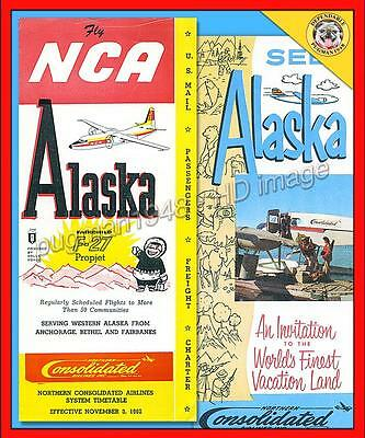 NORTHERN CONSOLIDATED AIRLINES (ALASKA) 1962 AIRLINE TIMETABLE SCHEDULE...+Extra