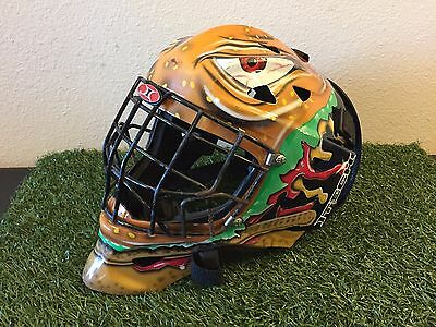 RARE Custom ITECH PROFILE Senior GOALIE MASK Angry CHEESEBURGER Game Used HELMET