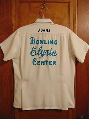 """VINTAGE 1950s OLYMPIAN ELYRIA OHIO BOWLING CENTER EMBROIDERED """"DICK"""" TEAM SHIRT"""