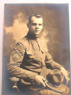 1918 Photograph Handsome Soldier Quartermaster Corps US Army WWI 5x7