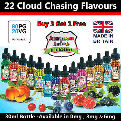 30ml e liquid vaping juice 80/20vg/pg max sub cloud chasing eliquid 0mg 3mg 6mg